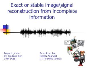 Exact or stable image\signal reconstruction from incomplete information