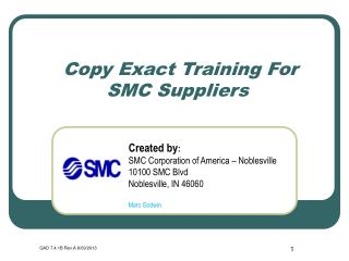 Copy Exact Training For SMC Suppliers