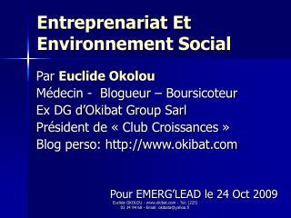 Entreprenariat Et Environnement Social