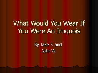 What Would You Wear If You Were An Iroquois