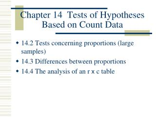 Chapter 14  Tests of Hypotheses Based on Count Data