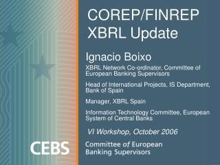 COREP/FINREP XBRL Update