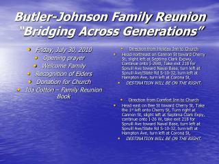 "Butler-Johnson Family Reunion ""Bridging Across Generations"""