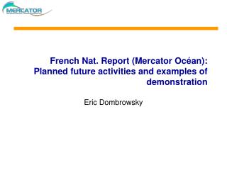 French Nat. Report (Mercator Océan): Planned future activities and examples of demonstration