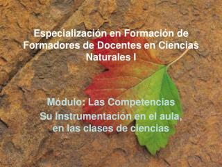 Especializaci n en Formaci n de Formadores de Docentes en Ciencias Naturales I