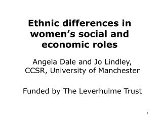 Ethnic differences in women's social and economic roles
