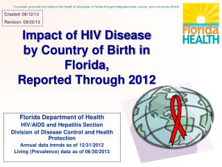 Impact of HIV Disease by Country of Birth in Florida, Reported Through 2012
