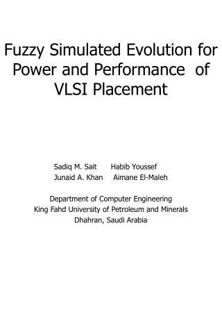 Fuzzy Simulated Evolution for Power and Performance  of VLSI Placement