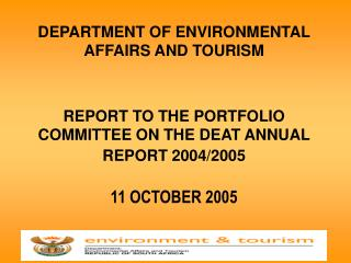 DEPARTMENT OF ENVIRONMENTAL AFFAIRS AND TOURISM