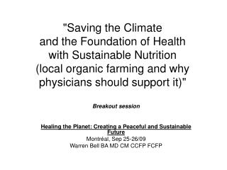 Breakout session Healing the Planet: Creating a Peaceful and Sustainable Future