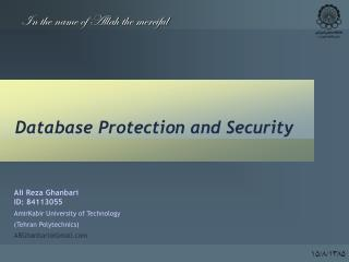 Database Protection and Security