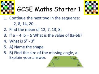 GCSE Maths Starter 1