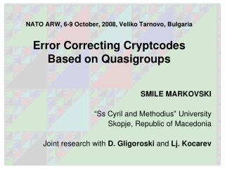 "SMILE MARKOVSKI "" Ss Cyril and Methodius ""  University Skopje, Republic of Macedonia"