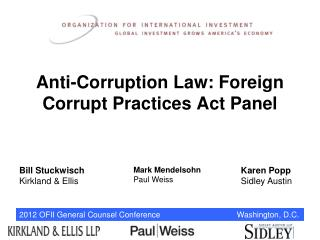 Anti-Corruption Law: Foreign Corrupt Practices Act Panel
