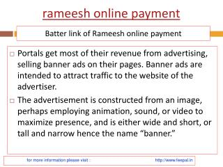 Useful information about rameesh online payment