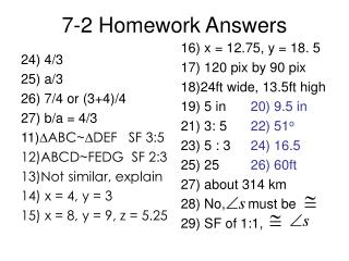 7-2 Homework Answers