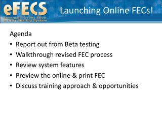 Launching Online FECs!