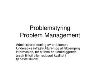 Problemstyring Problem Management