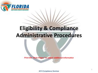 Eligibility & Compliance Administrative Procedures
