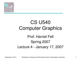 CS U540 Computer Graphics