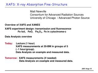 XAFS: X-ray Absorption Fine-Structure