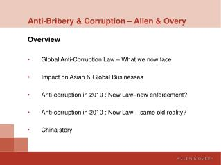 Anti-Bribery & Corruption � Allen & Overy