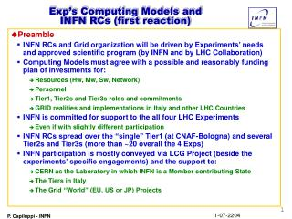 Exp's Computing Models and  INFN RCs (first reaction)