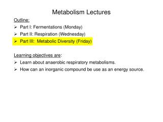 Metabolism Lectures