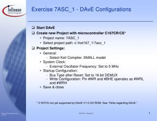 Exercise 7ASC_1 - DAvE Configurations