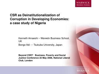 CSR as Deinstitutionalization of Corruption in Developing Economies: a case study of Nigeria