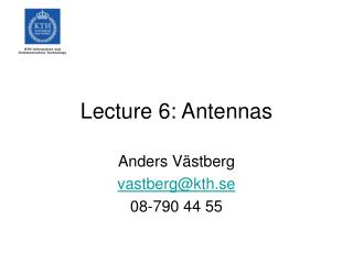 Lecture 6: Antennas
