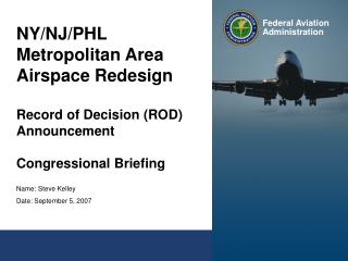 NY/NJ/PHL Metropolitan Area Airspace Redesign Record of Decision (ROD) Announcement