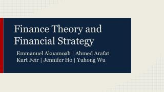 Finance Theory and Financial Strategy
