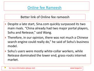 Useful information about online fee  rameesh