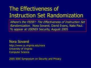 The Effectiveness of Instruction Set Randomization