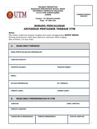 PEJABAT PENDAFTAR BAHAGIAN PENGURUSAN MODAL INSAN UNIVERSITI TEKNOLOGI MALAYSIA