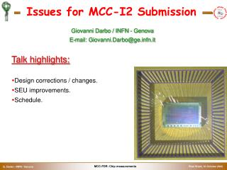 Issues for MCC-I2 Submission
