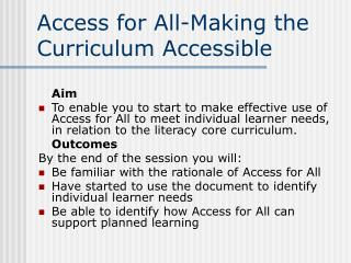 Access for All-Making the Curriculum Accessible
