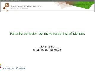 Naturlig variation og risikovurdering af planter. Søren Bak  email bak@life.ku.dk