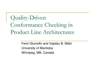 Quality-Driven Conformance Checking in Product Line Architectures