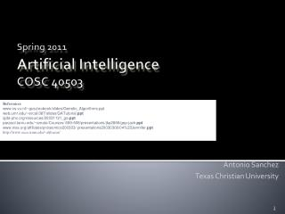Spring 2011 Artificial Intelligence  COSC�40503