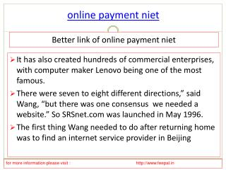 Useful information about online  payment niet