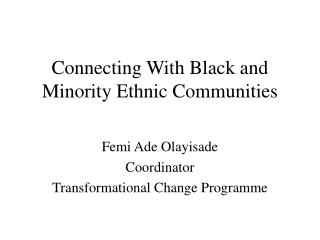 Connecting With Black and Minority Ethnic Communities