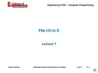 File I/O in C