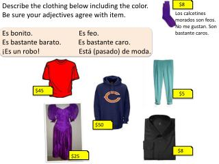 Describe the clothing below including the color. Be sure your adjectives agree with item.