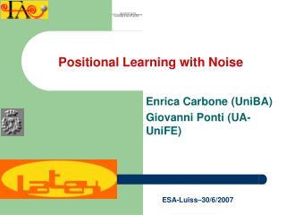 Enrica Carbone (UniBA) Giovanni Ponti (UA-UniFE)