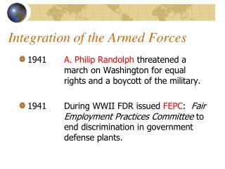 Integration of the Armed Forces