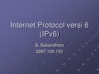 Internet Protocol versi 6 (IPv6)