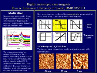 Highly anisotropic nano-magnets Rosa A. Lukaszew, University of Toledo, DMR 0355171