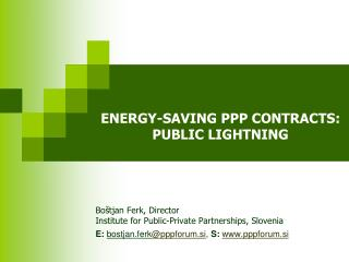 ENERGY-SAVING PPP CONTRACTS :  PUBLIC LIGHTNING